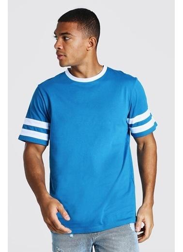 XHAN Siyah & Beyaz Bisiklet Yaka Yaka & Kol Garnili T-Shirt 1Kxe1-44752-86 Mavi